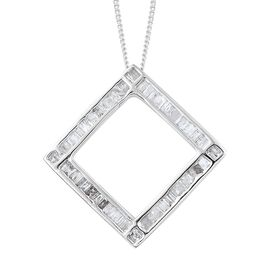 Diamond (Tapered Bagguet) Pendant With Chain (Size 18) in Platinum Overlay Sterling Silver 0.500 Ct.