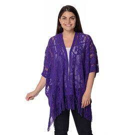 Knit Hollow Snowflake Pattern Kimono with Tassels (Size 85x65+14 Cm) - Dark Purple