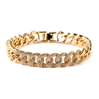 Simulated Diamond Curb Bracelet (Size - 7.5) in Gold Tone