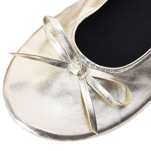 Set of 2 - Foldable Flat Ballet Shoe Each with Zipper Storage Pouch (UK 3-4) - Black and Yellow Gold