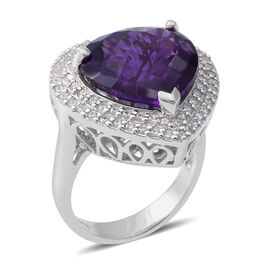 Amethyst (Hrt 10.15 Ct), Natural White Cambodian Zircon Ring in Rhodium Overlay Sterling Silver 11.0