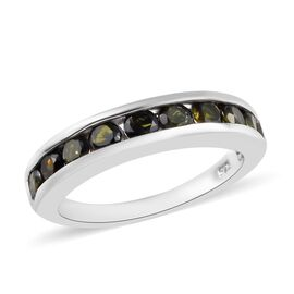 Green Tourmaline (Rnd) Half Eternity Band Ring in Platinum Overlay Sterling Silver 1.00 Ct.