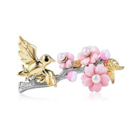 Jardin Collection - Pink Mother of Pearl, Freshwater Pearl and Boi Ploi Black Spinel Bird with Flowe