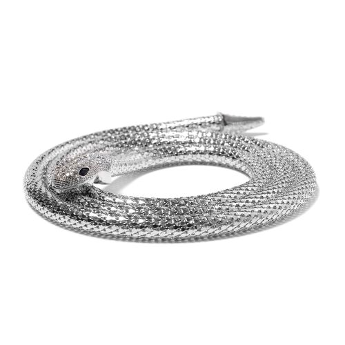 White Austrian Crystal and Simulated Black Spinel Snake Necklace (Size 49) in Silver Plated