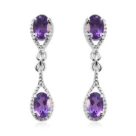 Amethyst (Ovl) Earrings (with Push Back) in Sterling Silver 1.500 Ct.