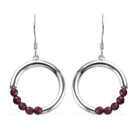 Rhodolite Garnet (Rnd) Hook Earrings in Platinum Overlay Sterling Silver 1.50 Ct