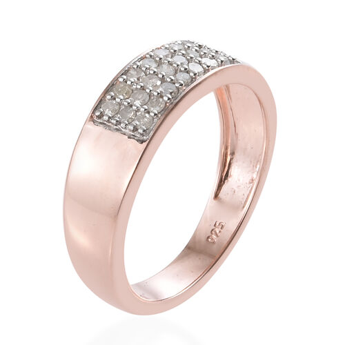 Diamond (Rnd) Band Ring in Rose Gold Overlay Sterling Silver 0.250 Ct.