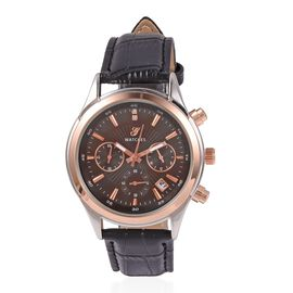 GENOA Multi Function Quartz Movement White Austrian Crystal Studded Water Resistant Watch with Black Strap