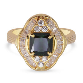 ELANZA Simulated Russian Diopside and Simulated Diamond Ring in Yellow Gold Overlay Sterling Silver