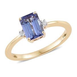 Tanzanite (1.00 Ct) and Diamond 9K Y Gold Ring  1.030  Ct.