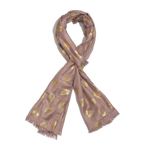 Designer Inspired - Chocolate and Golden Colour Foil Lips Printed Scarf with Fringes (Size 200X65 Cm)