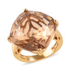 J Francis - Crystal from Swarovski Light Colorado Topaz Crystal (Cush) Ring (Size S) in 18K Yellow Gold Plate
