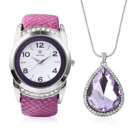 2 Piece Set - STRADA Japanese Movement Water Resistant Bangle Watch (6-7) with Simulated Amethyst an