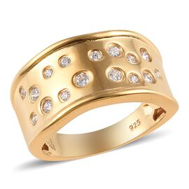 J Francis - 14K Gold Overlay Sterling Silver (Rnd) Ring Made with SWAROVSKI ZIRCONIA 0.345 Ct.