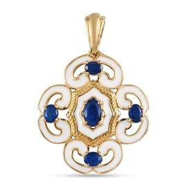 Tanzanian Blue Spinel Enamelled Pendant in 14K Gold Overlay Sterling Silver 1.60 Ct.