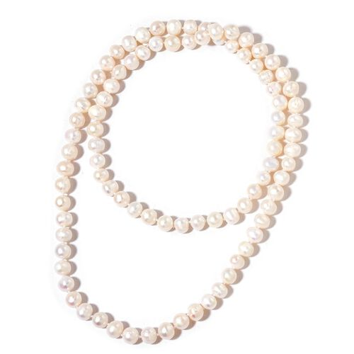 Hand Knotted Fresh Water High Double Lustre White Pearl (Rnd 11-12 mm) Bead Necklace (Size 30 Inch)