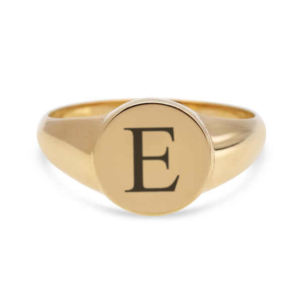 Personalise Engravable 9ct small round signet ring