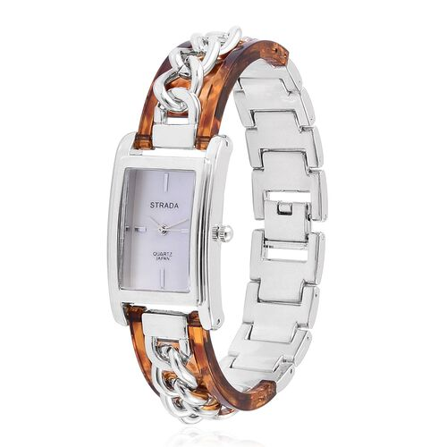 New Arrival - STRADA Genuine Mother of Pearl Japanese Movement Watch in Silver Tone with Brown Colour Curb Chain Strap