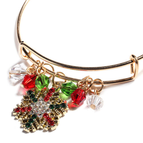 2 Piece Set - Multi Colour Austrian Crystal and Simulated Multi Gemstone Enamelled Santa Claus and Snowflake Adjustable Bangle (Size 7.5) with Charm in Yellow Gold Tone