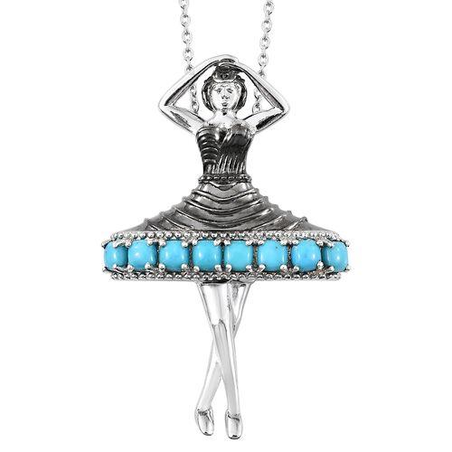 Arizona Sleeping Beauty Turquoise (Cush) Ballerina Pendant with Chain (Size 18) in Platinum Overlay