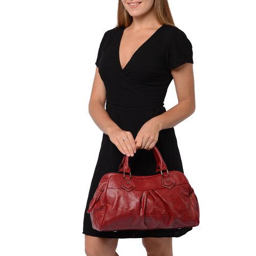Super Soft  Tote Handbag with Detachable Shoulder Strap and Zipper Closure (Size 39.5x13x23cm) - Burgundy