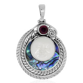 Princess Bali Collection OX Bone Carved Face (Rnd 5.00 Ct), Abalone Shell and African Ruby Pendant in Sterling Silver 11.050 Ct. Silver wt 8.00 Gms.