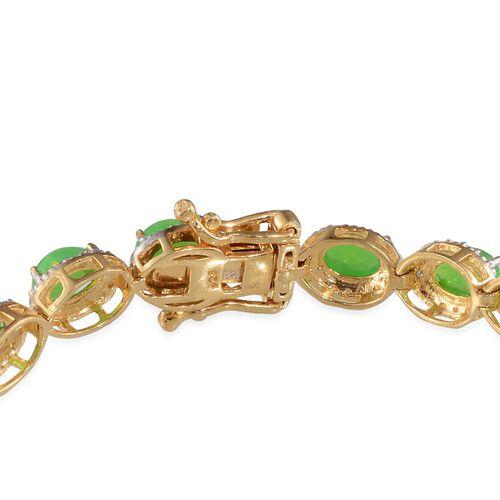 Green Ethiopian Opal (Ovl), Diamond Bracelet (Size 7.5) in 14K Gold Overlay Sterling Silver 6.710 Ct.