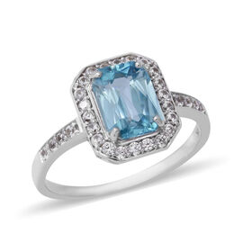 3.65 Ct Blue Zircon and Natural White Cambodian Zircon Halo Ring in 9K White Gold 2.50 Grams
