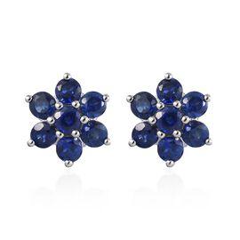 RHAPSODY 950 Platinum AAAA Burmese Blue Sapphire Floral Stud Earrings (with Screw Back) 1.300  Ct.