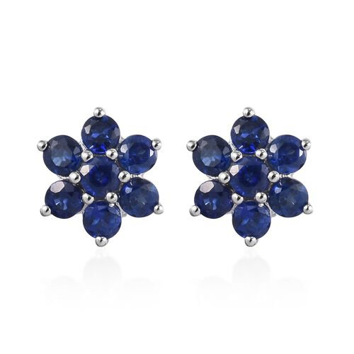 RHAPSODY 950 Platinum AAAA Burmese Blue Sapphire Floral Stud Earrings (with Screw Back) 1.300  Ct.
