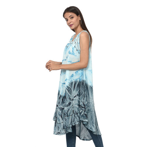 Summer Special- Embroidered Tie-Dye Round Neck Umbrella Dress (One Size; L-121cm x W-111cm) - Light Blue and Navy Blue