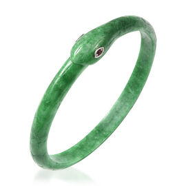 Carved Green Jade and Mozambique Garnet Snake Bangle (Size 7.5) in Rhodium Overlay Sterling Silver 1