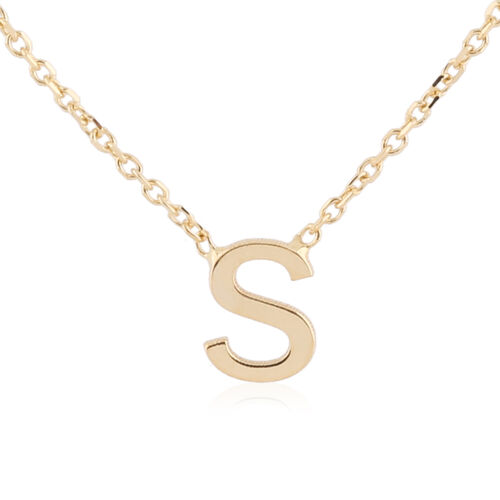 Hatton Garden Close Out - 9K Yellow Gold Initial S Necklace (Size 15 with 2 Inch Extender)