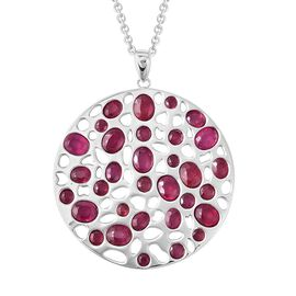 RACHEL GALLEY African Ruby (Ovl and Rnd) Pendant With Chain (Size 30) in Rhodium Overlay Sterling Si