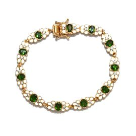 AA Russian Diopside and Natural Cambodian Zircon Enamelled Bracelet (Size 7) in 14K Gold Overlay Ste