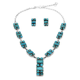 2 Piece Set Artisan Crafted Turquoise Necklace (Size 18-20) and Earrings (with Push Back) in Rhodium