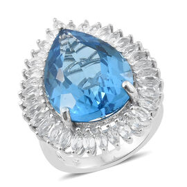 TJC Launch 28.75 Ct Marambaia Topaz and White Topaz Halo Ring in Platinum Plated Silver