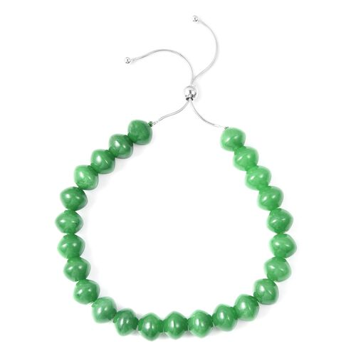 Very Rare Green Jade Adjustable Bracelet (Size 7) in Rhodium Plated Sterling Silver 140.000 Ct.