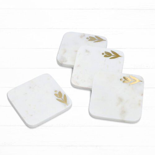 NAKKASHI - Set of 4 - Square Marble Coasters with Flower Brass Inlay(Size 10x10cm)