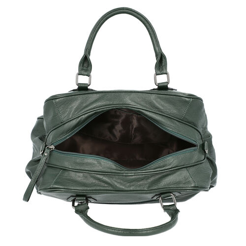 Super Soft  Tote Handbag with Detachable Shoulder Strap and Zipper Closure (Size 39.5x13x23cm) - Dark Green