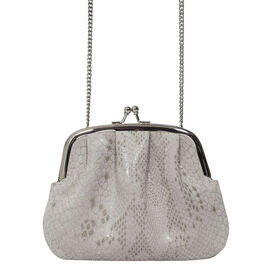 ASSOTS LONDON Genuine Leather Coin Purse with Detachable Shouder Strap (Size 15X12 Cm)-  Ice Grey