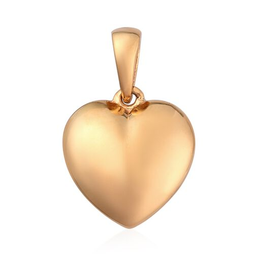 2 Piece Set - 14K Gold Overlay Sterling Silver Heart Pendant and Earrings (with Push Back)
