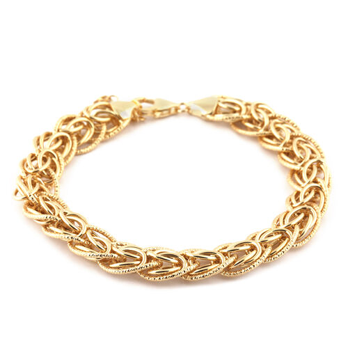 Italian Made 9K Yellow Gold Fancy Curb Bracelet (Size 7.5 with 1 inch Extender), Gold Wt. 8.91 Gms