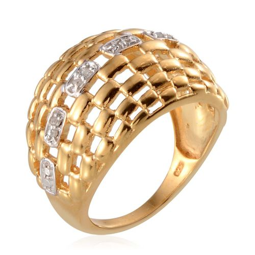 Diamond (Rnd) Ring in Yellow Gold Overlay Sterling Silver 0.100 Ct.