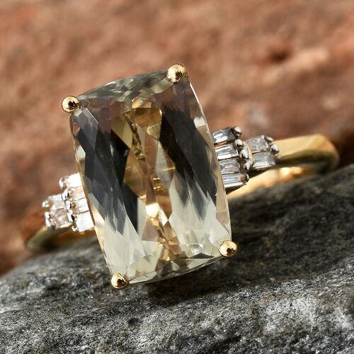ILIANA 18K Yellow Gold AAA Turkizite (Cush 4.250 Ct), Diamond (SI/G-H) Ring 4.350 Ct.