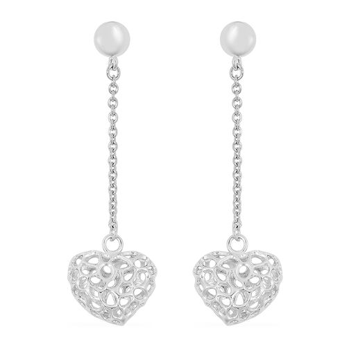 RACHEL GALLEY Rhodium Plated Sterling Silver Lattice Heart Earrings (with Push Back), Silver wt. 5.43 Gms.