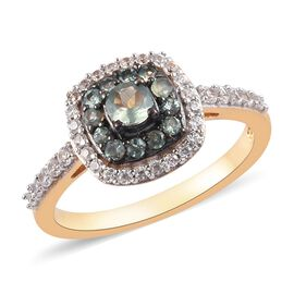 Narsipatnam Alexandrite, Natural Cambodian Zircon Halo Ring in 14K Gold and Black Overlay Sterling S