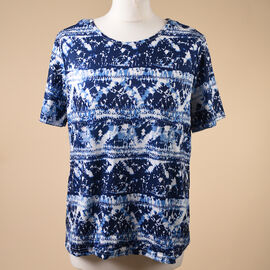 Aura Boutique Printed Short Sleeve Top - Navy