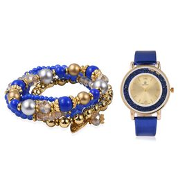 STRADA Watch with Blue Colour Strap and Beads Stretchable Bracelet Set