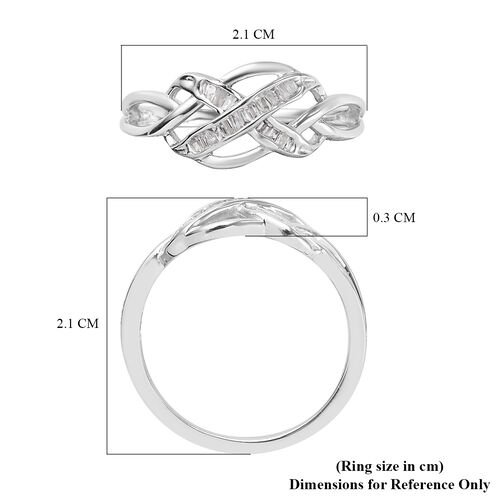 White Diamond Celtic Knot Ring in Platinum Overlay Sterling Silver 0.15 Ct.